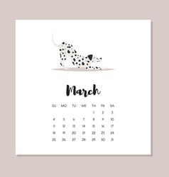 March 2018 dog year calendar vector