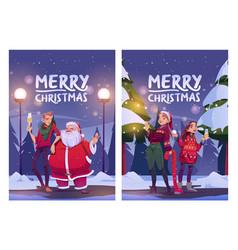 merry christmas cartoon card poster santa claus vector image