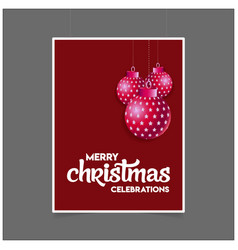 merry christmas hanging ball with lettering vector image