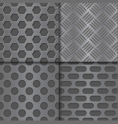 metal perforated background seamless pattern vector image