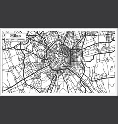 Milan italy city map in retro style in black and vector