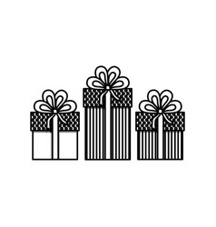 Monochrome set of gift boxes with decorative vector