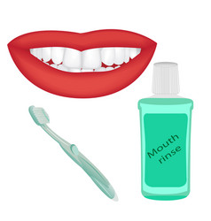 Mouth rinse tooth brush and a cute smile vector