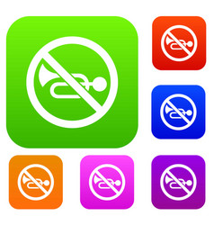 No horn traffic sign set collection vector