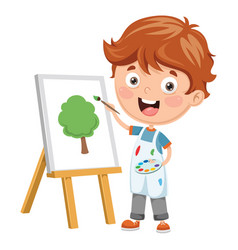 of a kid painting vector image
