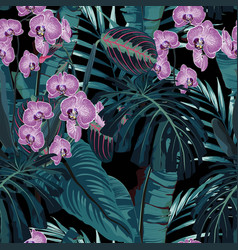 palm leaves and tropical pink orchid flowers vector image