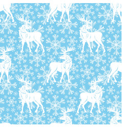 pattern with deer and snowflakes vector image