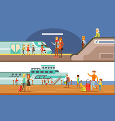 people using public transport set passengers of vector image