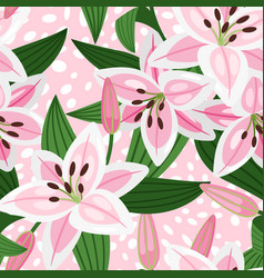 pink lily floral pattern vector image