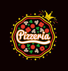 pizzeria promotional logotype with pizza and crown vector image