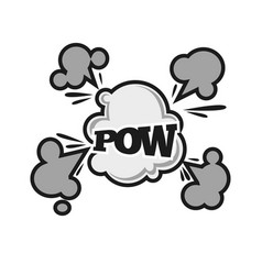 Pow comic bubble sound balst cloud cartoon vector
