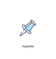 Pushpin concept 2 colored icon simple line vector