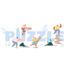 puzzle and board game challenge concept happy vector image