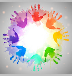 rainbow prints of children hands and watercolor vector image