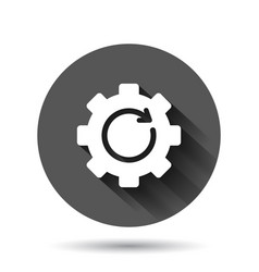 Recovery gear icon in flat style repeat on black vector
