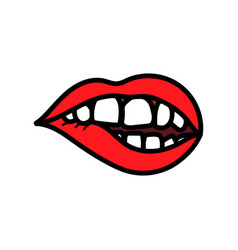 red lips biting doodle vector image