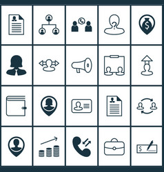 resources icons set with pile purse speaker and vector image