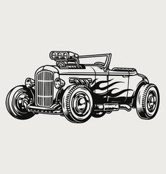 Retro hot rod with flame decal vector