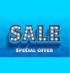 sale word retro light signboard banner vector image