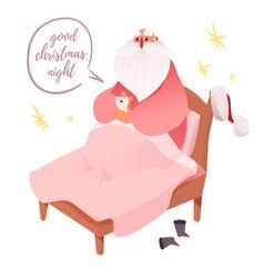 Santa claus browsing smartphone ine bed vector