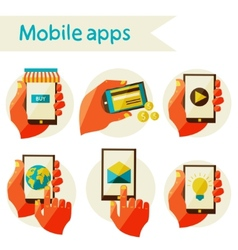 Set mobile icons vector