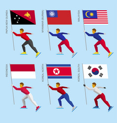 Set of flat athletes skating with flags of asia vector