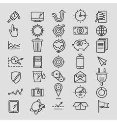 Set of linear hand drawn icons concept business vector