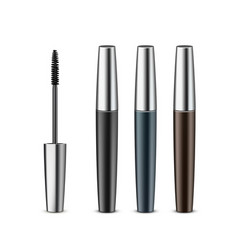 Set of opened closed black mascara in tube vector