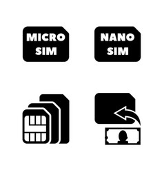 sim cards simple related icons vector image