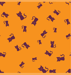sinister cat halloween pattern seamless color vector image