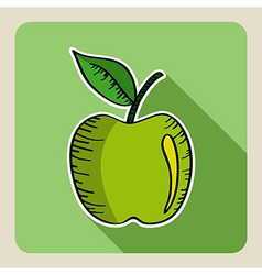 Sketch style green apple vector