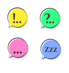speech bubble doodle stickers set with multiple vector image