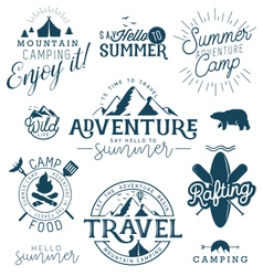 Summer Camp Adventure and Travel Design Elements vector