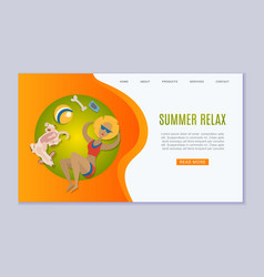 Summer relax vacation taking sun baths in park or vector