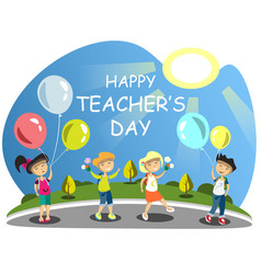 Teacher s day group of children giving flowers vector