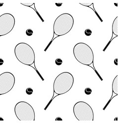 tennis racket with a ball seamless pattern vector image