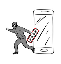 Thief or hacker use key to hack into smartphone vector