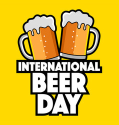 Two beer glasses for international beer day icon vector