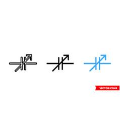Variable capacitor symbol icon 3 types color vector