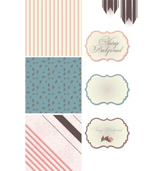 Vintage Rose Pattern frames and cute seamless vector image