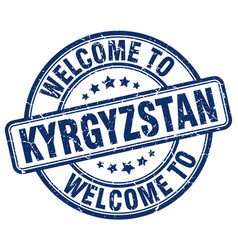 welcome to kyrgyzstan blue round vintage stamp vector image