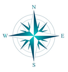 wind rose with the designation of north south vector image