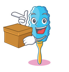 with box feather duster character cartoon vector image