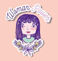 woman power girl cartoon vector image