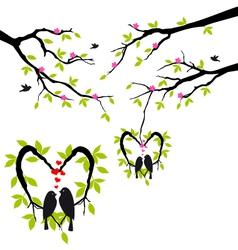 birds on tree in heart nest vector image vector image
