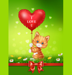 cartoon cat holding red heart balloons with red sa vector image vector image