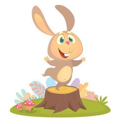Cartoon cool little bunny rabbit dancing vector