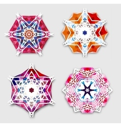 Abstract colorful snowflakes with 3D effect logo vector image
