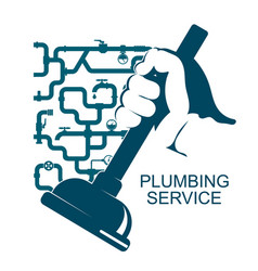 cleaning of plumbing vector image