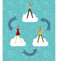 Cloud computing people vector image vector image